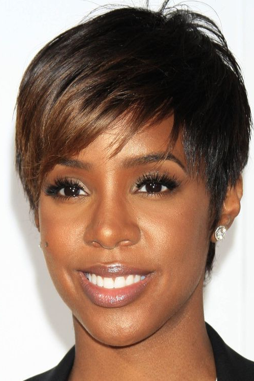 20 Black Hairstyles With Bangs Oozing Mismatched Chic With Feathered Haircuts With Angled Bangs (View 11 of 25)