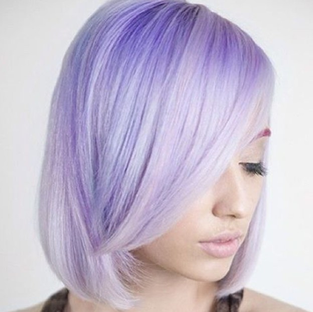 20 Gorgeous Pastel Purple Hairstyles For Short, Long And Mid For Purple Tinted Off Centered Bob Hairstyles (View 13 of 25)