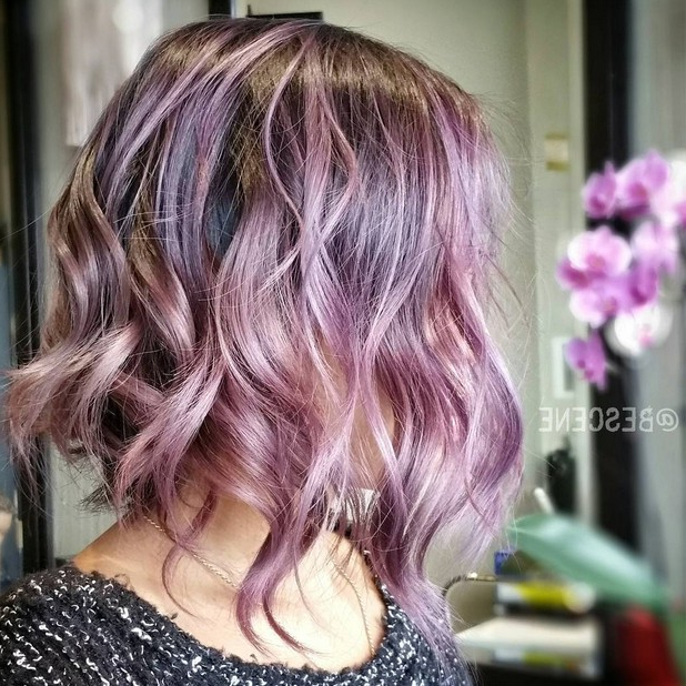 20 Gorgeous Pastel Purple Hairstyles For Short, Long And Mid Inside Purple Tinted Off Centered Bob Hairstyles (View 14 of 25)