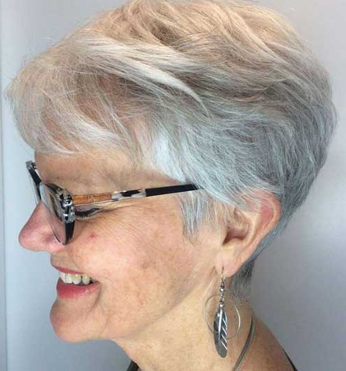 2019 Short Haircuts For Older Women In Gray Pixie Haircuts With Messy Crown (View 25 of 25)