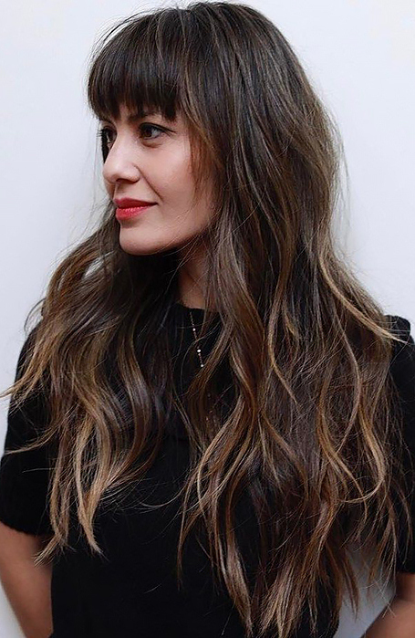 25 Gorgeous Long Hair With Bangs Hairstyles – The Trend Spotter Pertaining To Feathered Haircuts With Angled Bangs (View 19 of 25)