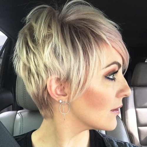 30+ Short Bob For Round Faces Intended For Messy Spiky Pixie Haircuts With Asymmetrical Bangs (View 7 of 25)