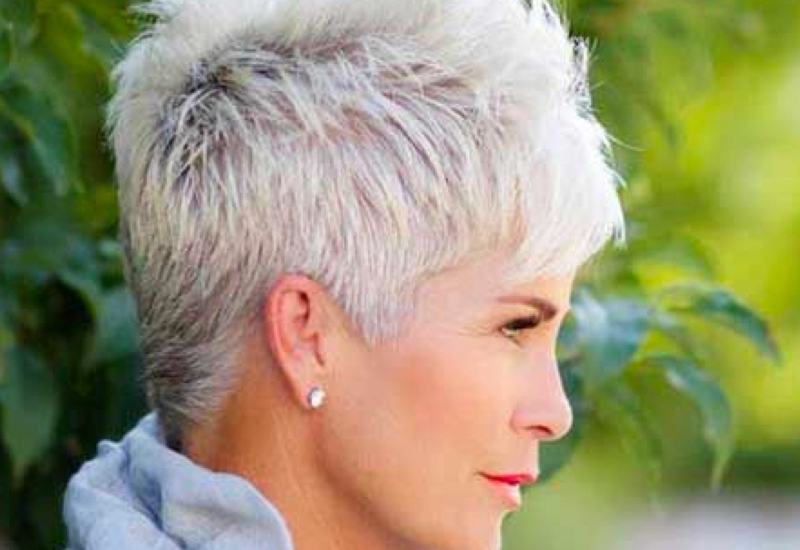 34 Flattering Short Haircuts For Older Women In 2019 For Gray Pixie Haircuts With Messy Crown (View 12 of 25)