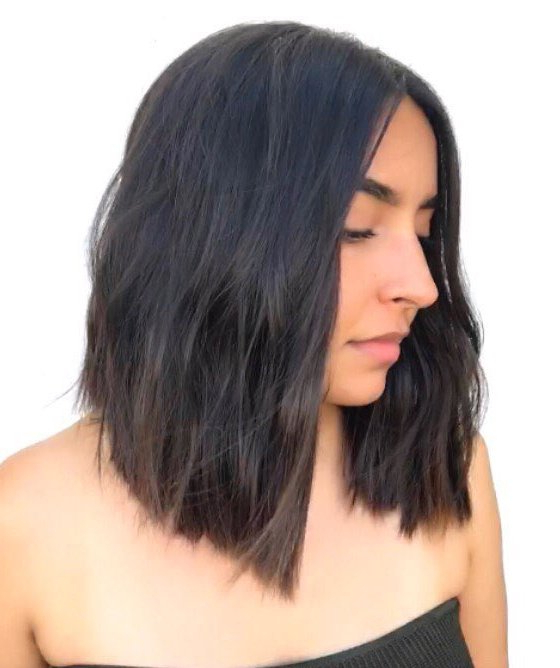 35 Killer Ways To Work Long Bob Haircuts For 2019 Pertaining To Feathered Haircuts With Angled Bangs (View 21 of 25)