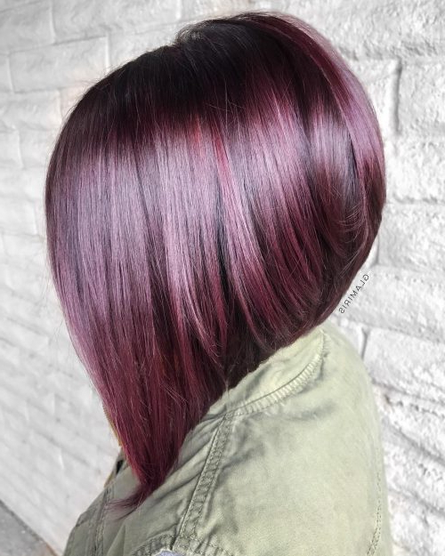 40 Hottest Medium To Shoulder Length Bob Haircuts Regarding Purple Tinted Off Centered Bob Hairstyles (View 10 of 25)