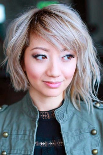 40 Sexy Asymmetrical Bob Haircuts | Lovehairstyles pertaining to Curly Messy Bob Hairstyles With Side Bangs