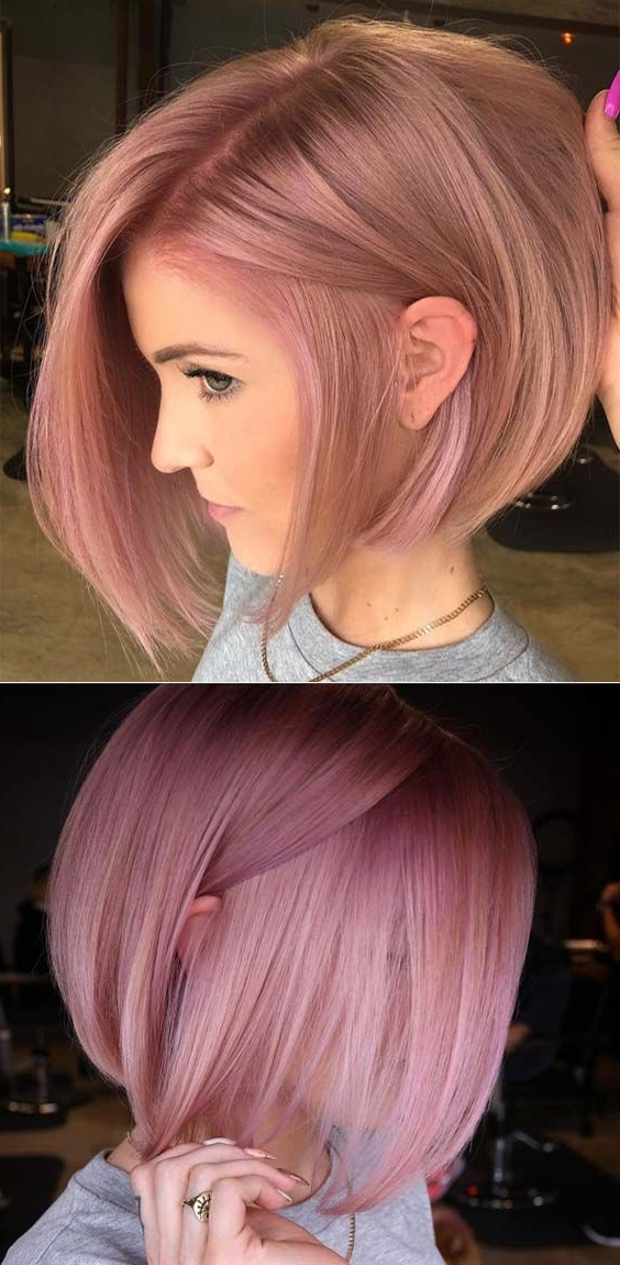 45 Stunning Ideas Of Pink Bob Haircut Styles For 2018 | Bob With Purple Tinted Off Centered Bob Hairstyles (View 4 of 25)