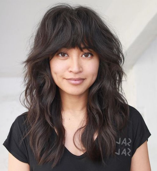 50 Haircuts For Thick Hair That You'll Love This Season With Feathered Haircuts With Angled Bangs (View 24 of 25)
