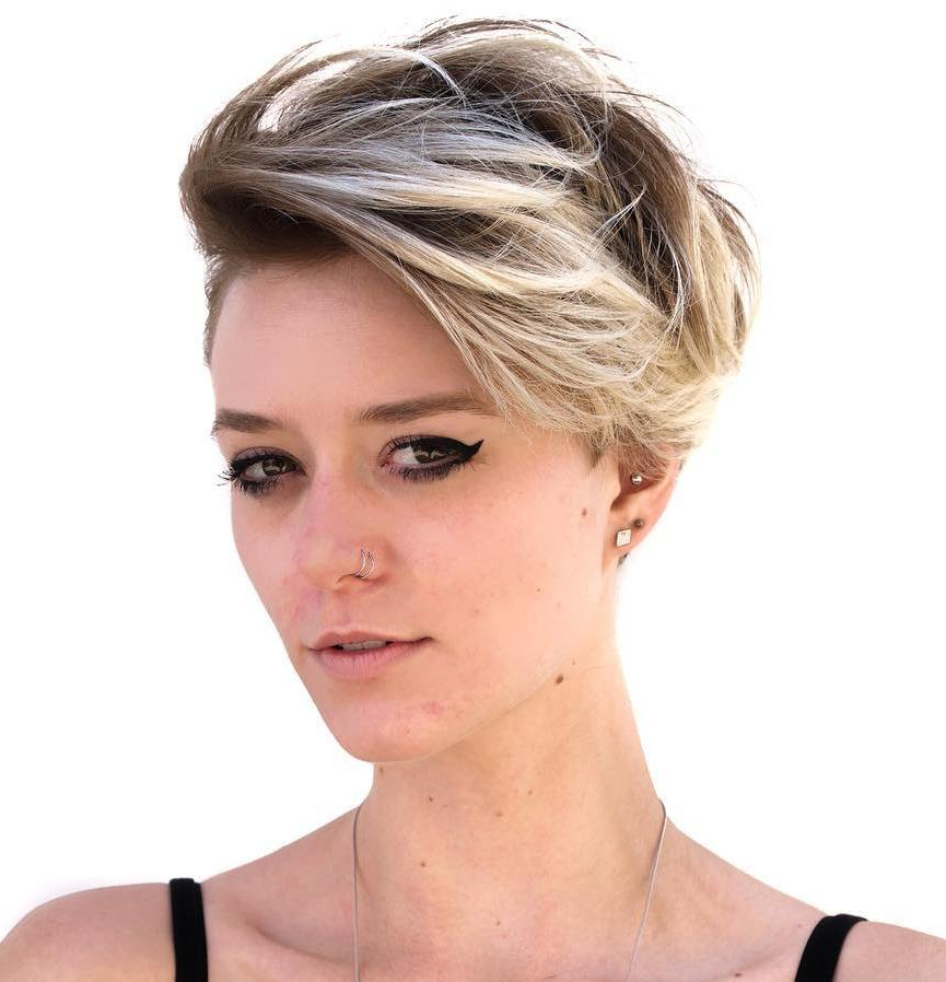50 Hottest Pixie Cut Hairstyles In 2019 Throughout Long Pixie Haircuts With Sharp Layers And Highlights (View 21 of 25)