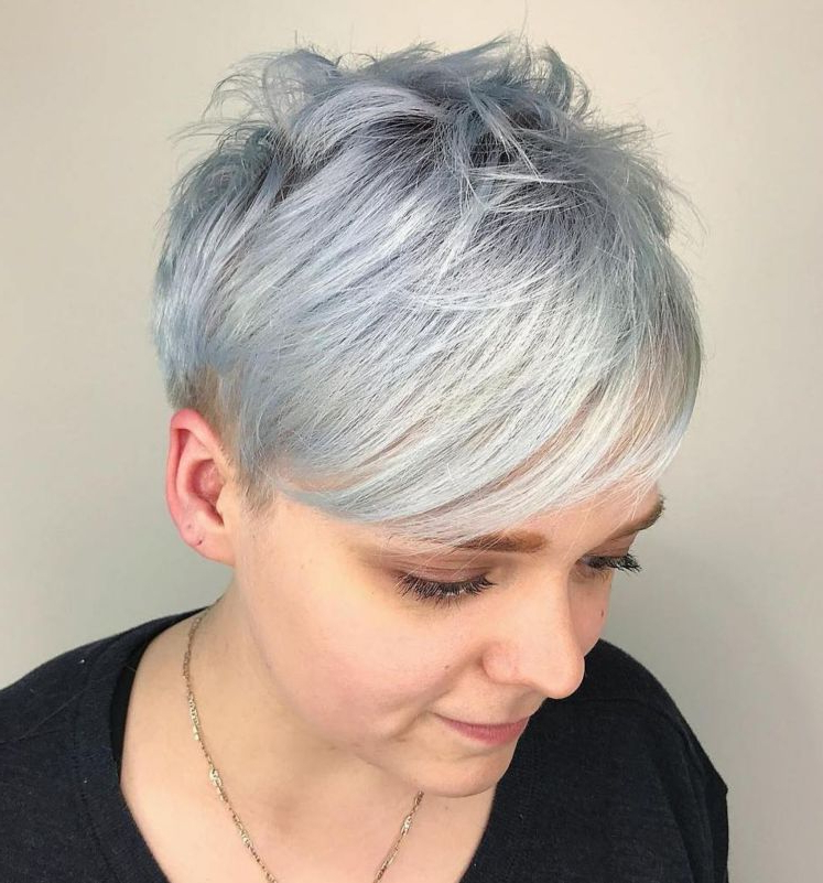 Featured Photo of Gray Pixie Haircuts With Messy Crown