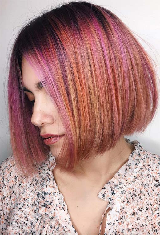 55 Medium Bob Haircuts To Embrace: The One Mid Length Bob Pertaining To Purple Tinted Off Centered Bob Hairstyles (View 7 of 25)