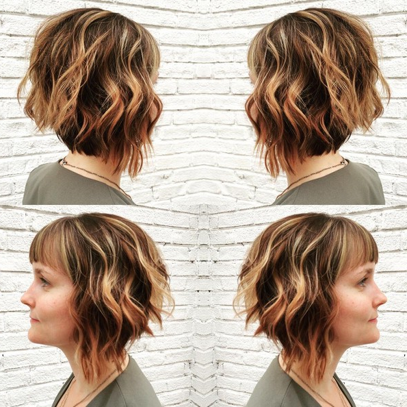Angled Bob Hairstyle With Bangs – Short, Layered Wavy With Feathered Haircuts With Angled Bangs (View 8 of 25)