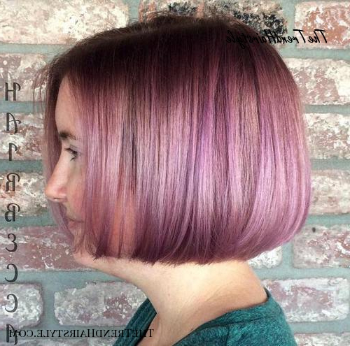 Chic Gray Blunt Haircut – 50 Spectacular Blunt Bob Regarding Purple Tinted Off Centered Bob Hairstyles (View 9 of 25)