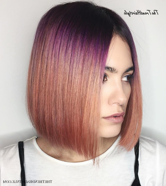 Chic Gray Blunt Haircut – 50 Spectacular Blunt Bob Regarding Purple Tinted Off Centered Bob Hairstyles (View 2 of 25)