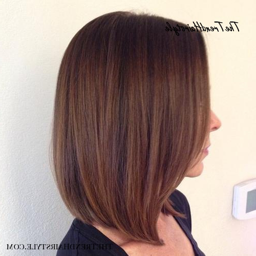 Chic Gray Blunt Haircut – 50 Spectacular Blunt Bob With Purple Tinted Off Centered Bob Hairstyles (View 16 of 25)