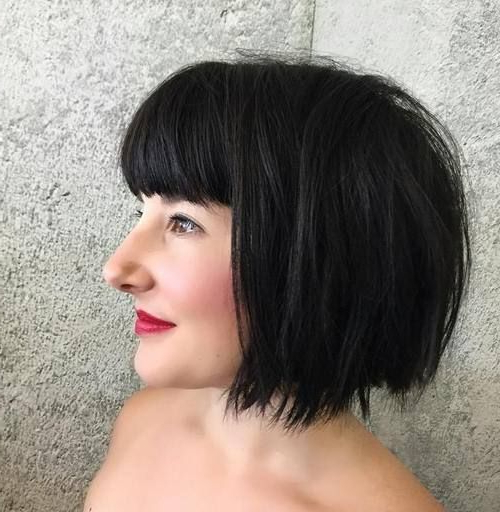 Choppy, Black, Chin Length Bob With Bangs | Hair | Short regarding Jaw-Length Choppy Bob Hairstyles With Bangs