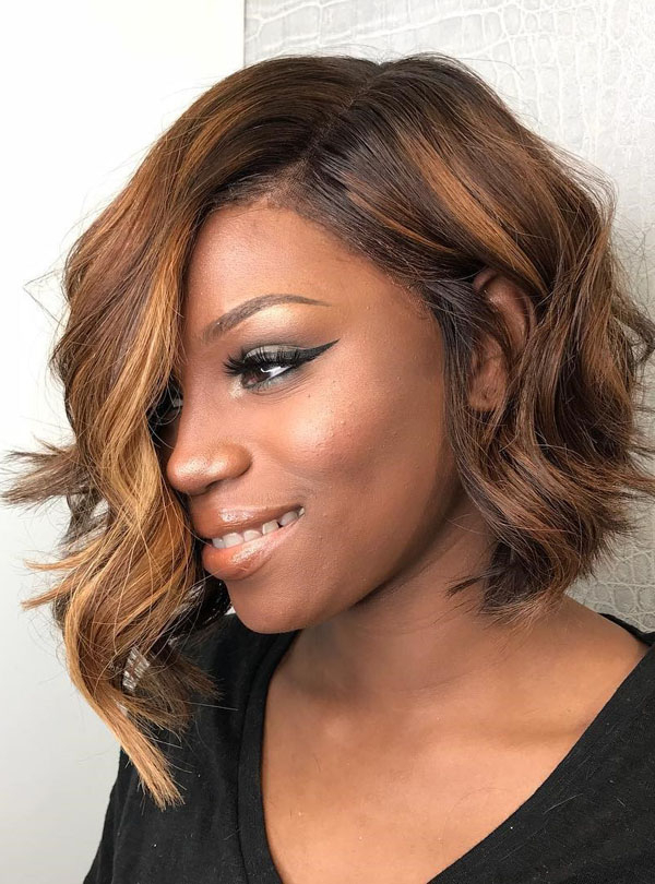 Fake Scalp Side Bangs Messy Wavy Bob Cut Lace Wig in Curly Messy Bob Hairstyles With Side Bangs