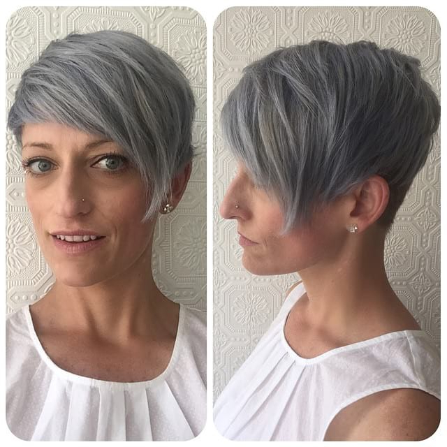 Grey Biased Crop With Straight Undone Texture And Tapered Nape for Short Tapered Pixie Upwards Hairstyles