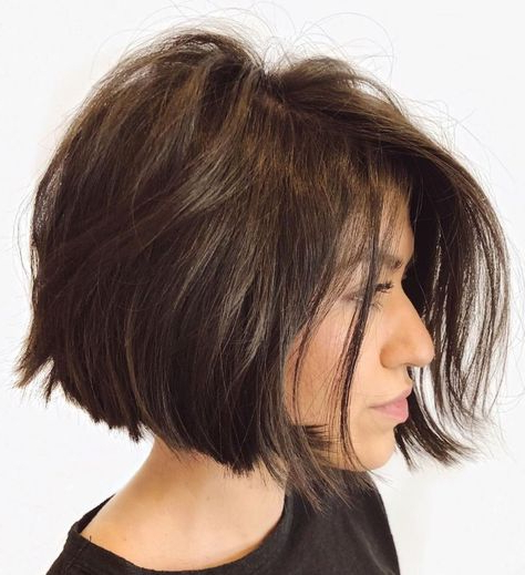Jaw-Length Disconnected Brunette Bob | Beauty Board pertaining to Simple Side-Parted Jaw-Length Bob Hairstyles