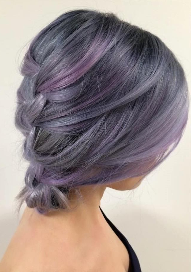 Silver/purple/blue Lavender Hues | Hair Styles, Lilac Hair Throughout Purple Tinted Off Centered Bob Hairstyles (View 5 of 25)