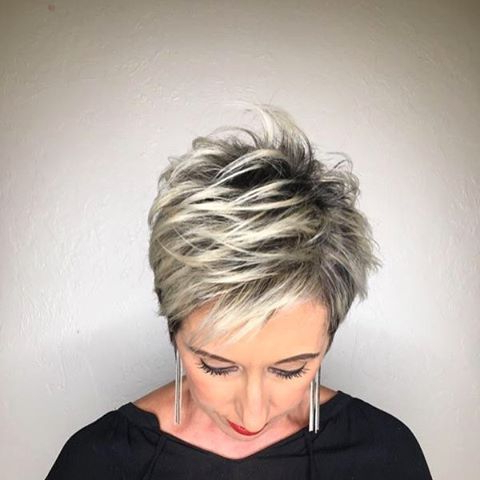 White Blonde Highlights On This Pixie Haircut In 2019 With Regard To Gray Pixie Haircuts With Messy Crown (View 7 of 25)