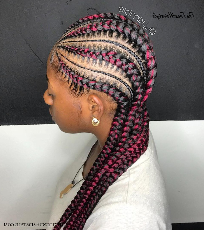 1: Feed In Braids With Cuff Beads – 20 Super Hot Cornrow Throughout Most Current Thick Plaits And Narrow Cornrows Hairstyles (View 15 of 25)