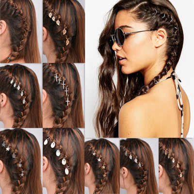 10/5Pcs Hair Braided Ring Gold Silver Circle Leaf Clip Intended For Newest Hoop Embellished Braids Hairstyles (View 13 of 25)