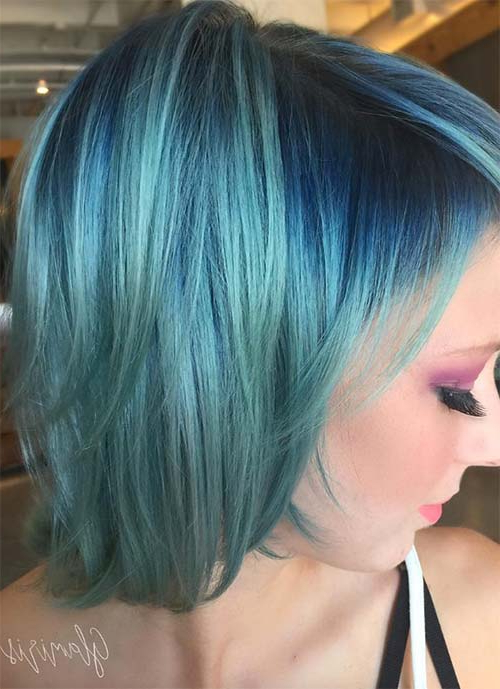 100 Short Hairstyles For Women: Pixie, Bob, Undercut Hair With Best And Newest Aqua Green Undercut Hairstyles (View 19 of 25)