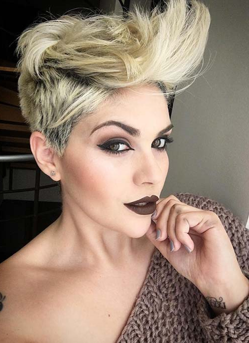 100 Short Hairstyles For Women: Pixie, Bob, Undercut Hair Within 2018 Flipped Up Platinum Blonde Pixie Haircuts (View 9 of 25)