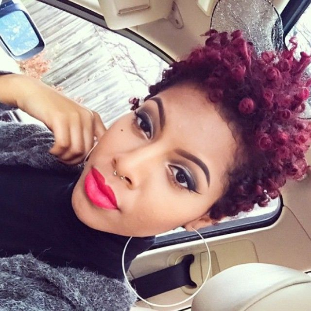 101 Short Hairstyles For Black Women – Natural Hairstyles Throughout Recent Plum Brown Pixie Haircuts For Naturally Curly Hair (View 14 of 25)