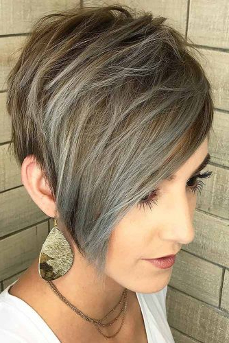 170 Pixie Cut Ideas To Suit All Tastes In 2020 Within Most Current Silver Pixie Haircuts With Side Swept Bangs (View 11 of 25)