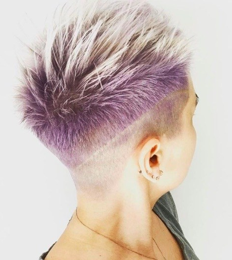 19 Best Female Mohawk Hairstyles Regarding Most Recently Faux Hawk Fade Haircuts With Purple Highlights (View 21 of 25)