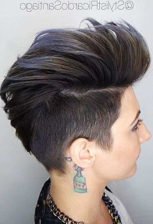 20 Faux Hawk Inspired Hairstyles: Amazing Hairstyles For Women With Current Faux Hawk Fade Haircuts With Purple Highlights (View 12 of 25)