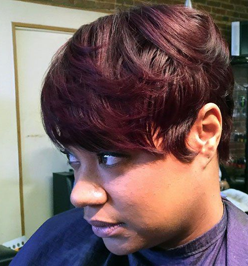 20 Sassy And Sexy Black Pixie Cuts | H – Hairspirations Throughout Latest Plum Brown Pixie Haircuts For Naturally Curly Hair (View 2 of 25)
