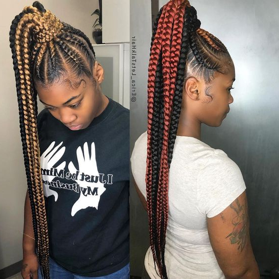 2019 Attractive 8 Feed In Braids Ponytail For Women Throughout Newest Ponytail Braid Hairstyles (View 14 of 25)
