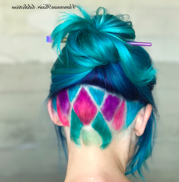 21 Colourful Undercut Hair Designs For Women | Undercut Intended For Most Recently Aqua Green Undercut Hairstyles (View 10 of 25)