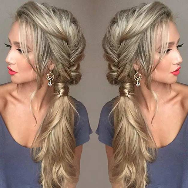 21 Pretty Side Swept Hairstyles For Prom | Page 2 Of 2 Inside Current Messy Side Fishtail Braid Hairstyles (View 14 of 25)