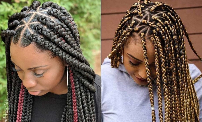 21 Pretty Triangle Braids Hairstyles You Need To See | Stayglam In Latest Thick Plaits And Narrow Cornrows Hairstyles (View 19 of 25)