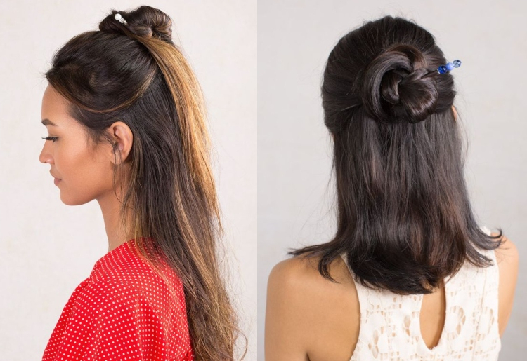 21 Simple Indian Hairstyle For Saree Intended For 2020 Modern Braided Top Knot Hairstyles (View 25 of 25)