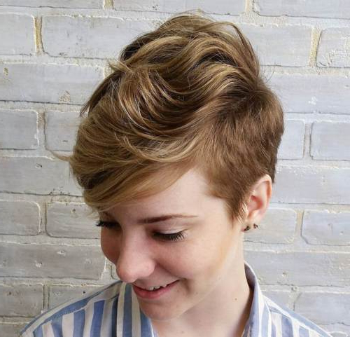 22 Hottest Easy Short Haircuts For Women – Pretty Designs Inside Best And Newest Wavy Asymmetrical Pixie Haircuts With Pastel Red (View 25 of 26)