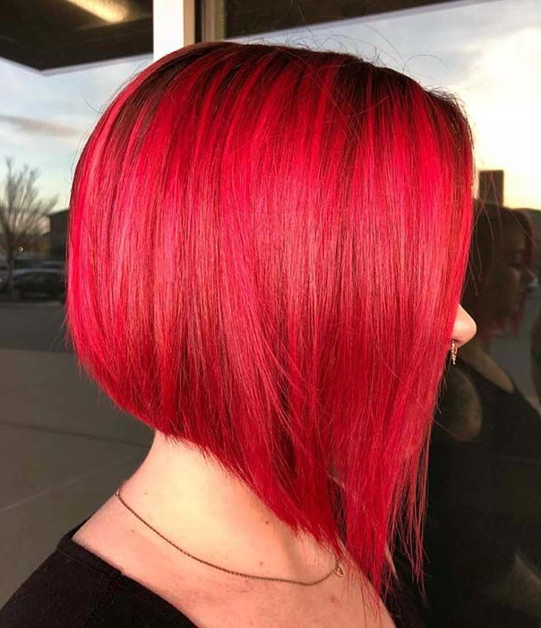 23 Red And Black Hair Color Ideas For Bold Women | Bob In Bright Red Bob Hairstyles (View 5 of 25)