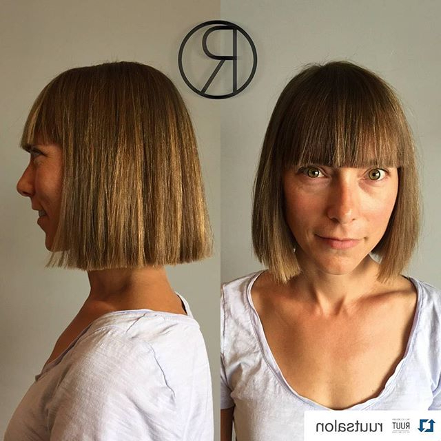 26 Cute Blunt Bob Hairstyle Ideas For Short & Medium Hair In Sharp And Blunt Bob Hairstyles With Bangs (View 20 of 25)