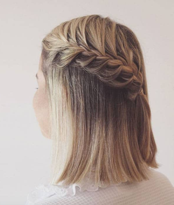 27 Beautiful And Fresh Braid Hairstyle Ideas For Short Hair For Current Asymmetrical French Braid Hairstyles (View 15 of 25)