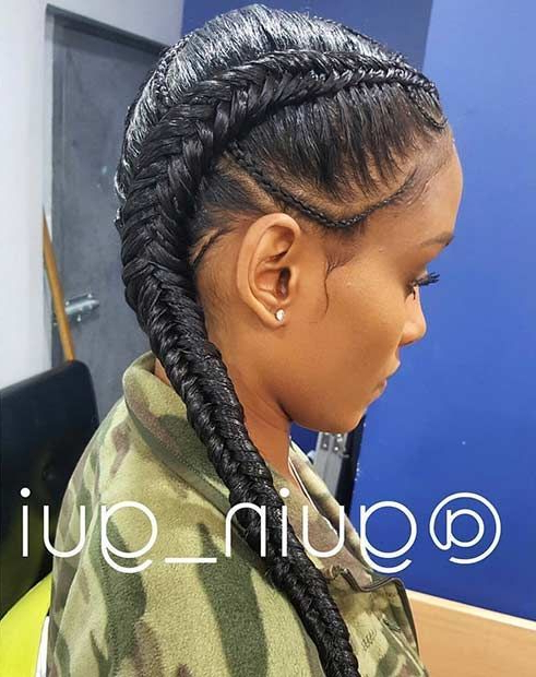 31 Cornrow Styles To Copy For Summer | Two Braid Hairstyles Pertaining To Recent Cornrow Fishtail Side Braid Hairstyles (View 2 of 25)