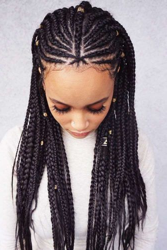 35 Attention Grabbing Fulani Braids Ideas To Copy In 2020 With Regard To Most Popular Accessorized Straight Backs Braids (View 22 of 25)