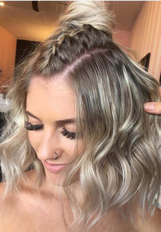 35 Best Half Up Top Knot Braids For 2018 | Curly Prom Hair In Most Popular Braided Topknot Hairstyles (View 13 of 25)