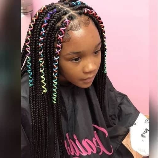 40 Braids For Black Kids Within Newest Center Part Braid Hairstyles (View 19 of 25)