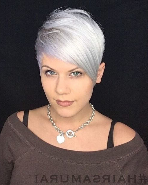 40 Cute Short Pixie Cuts For 2020 - Easy Short Pixie Hairstyles in Latest Silver Pixie Haircuts With Side Swept Bangs