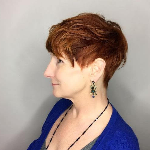 40 Cute Short Pixie Cuts For 2020 – Easy Short Pixie Hairstyles Within Best And Newest Wavy Asymmetrical Pixie Haircuts With Pastel Red (View 12 of 26)