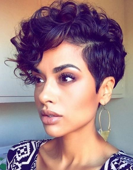 Featured Photo of Plum Brown Pixie Haircuts For Naturally Curly Hair